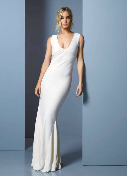 dress, wedding dress, white, white dress, gown, jennifer lawrence ...