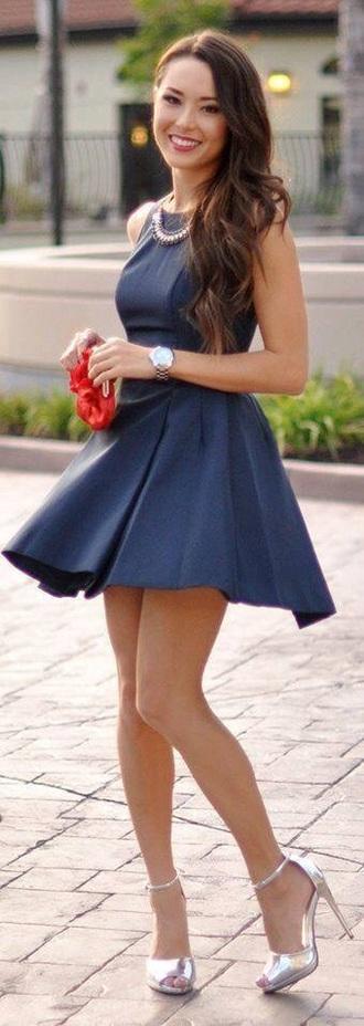 dress navy skater dress