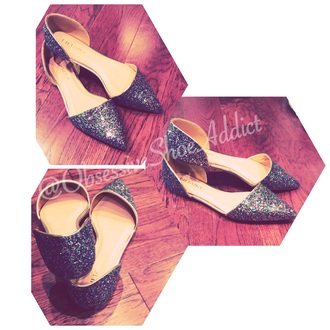 shoes flat flats multicolor sparkle flowered shorts fluffy metallic flat shoes pointed flats
