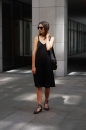 cruel thing,blogger,shoes,dress,sunglasses,bag,black,black midi dress,black dress,midi dress,slip dress,ballet flats,flats,black flats,black bag,shoulder bag,black sunglasses,summer black dress