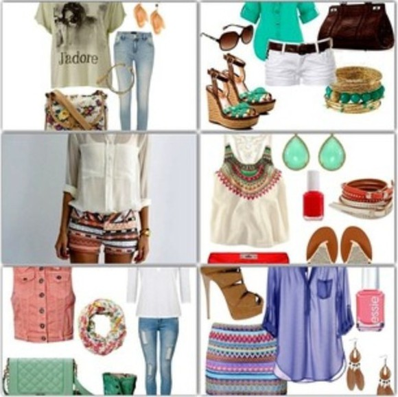 aztec clothes aztec short skirt fashion jeans aztec skirt blouse white blouse purple blouse pink demin denim jacket pink essie earrings outfit