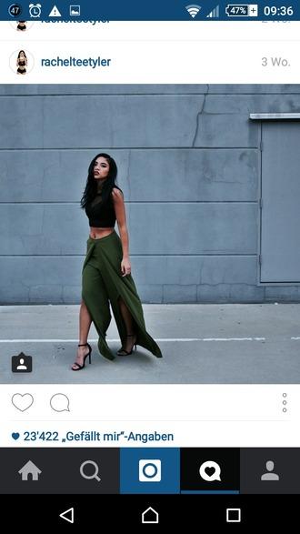 skirt olive green green skirt maxi skirt crop tops black shoes high heels top
