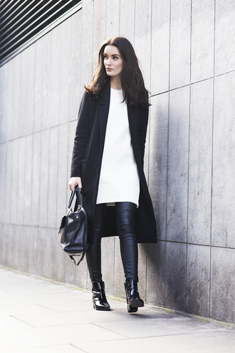 anouska proetta brandon blogger sweater dress leather leggings black coat long coat black bag jacket jeans shoes white knit dress sweater bag streetstyle leather pants mango
