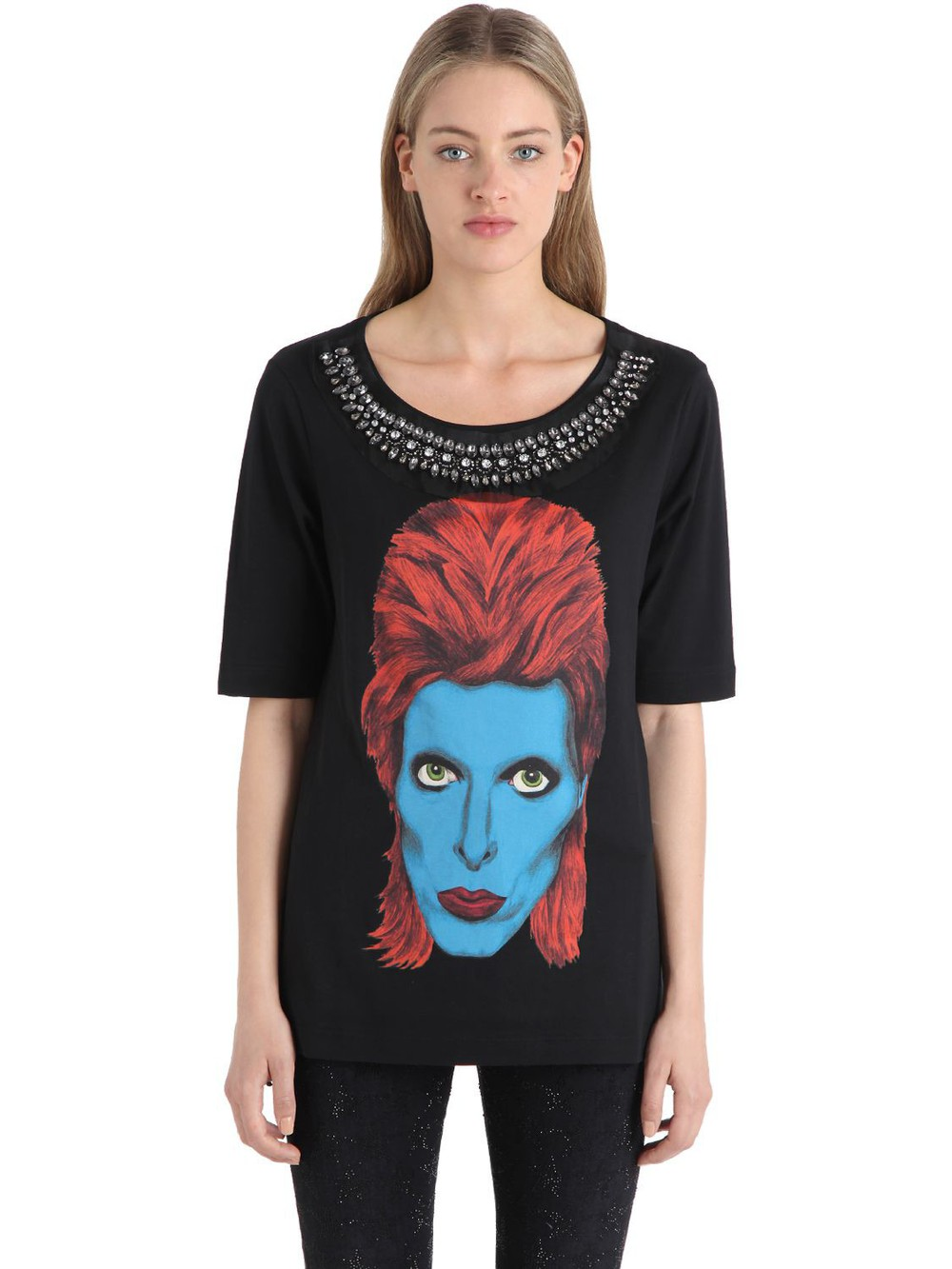 JOHN RICHMOND Embellished Cotton Jersey T-shirt in black