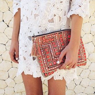 clutch dress lace white floral boho coachella fashion hippie embellished pouch white crochet dress crochet dress cocktail dress summer dress spring dress maxi pouch boho chic ethnic hippie chic white lace dress festival bohemian indie silver diamonds gypsy