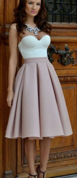 skirt fashion kmee length v top midi skirt peach style top champagne dress outfit summer dress hair shoes dress beige flare skirt white top sleeveless top