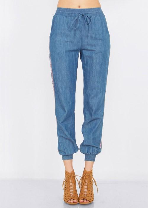 Blue Chambray Jogger Pants