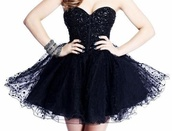 dress,black dress,short dress,prom dress,sherri hill,black,prom,sparkle