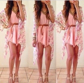 blouse outfit cute summer pretty floral kimono tumblr outfit jumpsuit