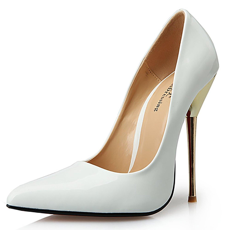 ff2770e1e5ef8 Amazon.com: Leeminus Women's Artificial Leather Sexy Pointed Toe Metal  Heels Pump Shoes: Shoes