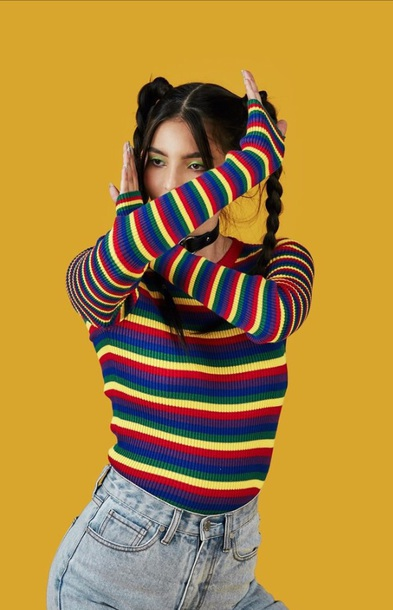 sweater striped long sleeve colorful rainbow stripes striped sweater unif