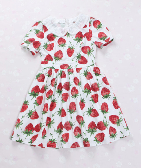 amazing cute dress red red dress strawberry dress strawberry strawberries cute dress kawaii kawaii dress lolita sweet lolita print dress japan japanese alternative lovely adorable dress omg