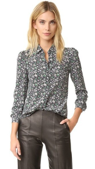 blouse forest grid top