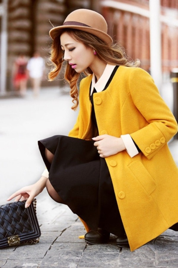 coat yellow coat yellow winter coat winter outfits clothes fashion fashion coat dress