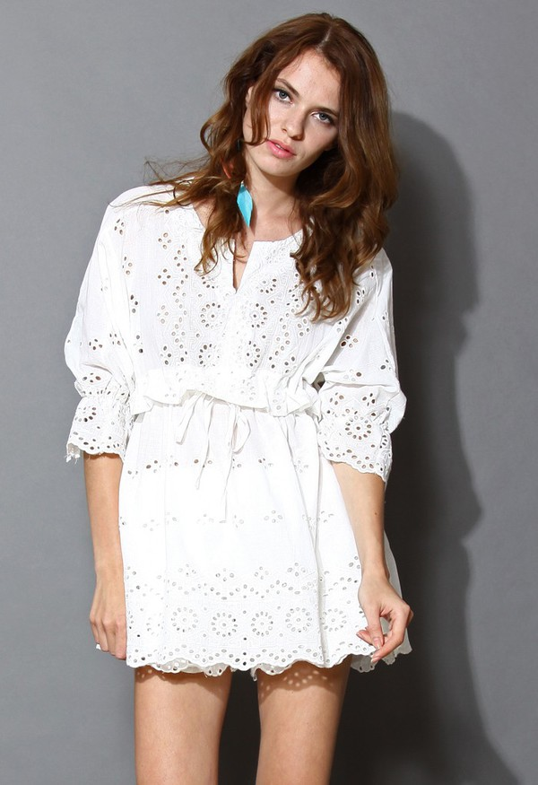 chicwish boho totem eyelet white dress