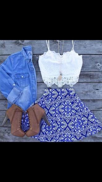 skirt denim jacket white crop tops white shirt blue skirt brown shoes high heels shoes