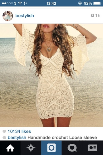 dress crochet white dress led lwd instagram midi sleeves short dress