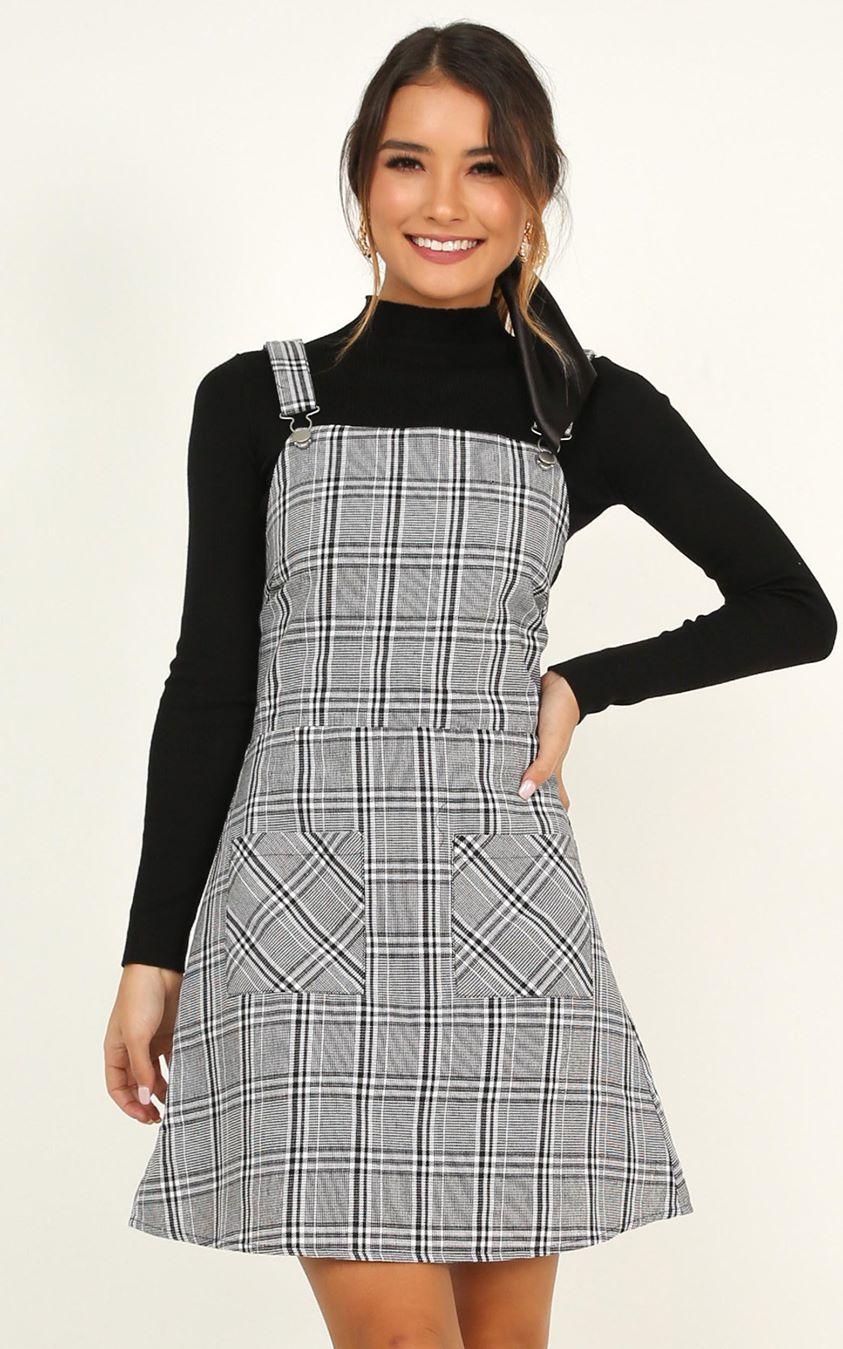 Showpo Winter Valley Dress in grey check - 4 (XXS) Dresses