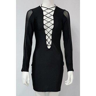 dress criss cross black fashion low cut trendy mesh rose wholesale-ap