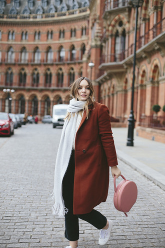 what olivia did... blogger scarf coat sweater belt jeans shoes bag pink bag winter outfits sneakers