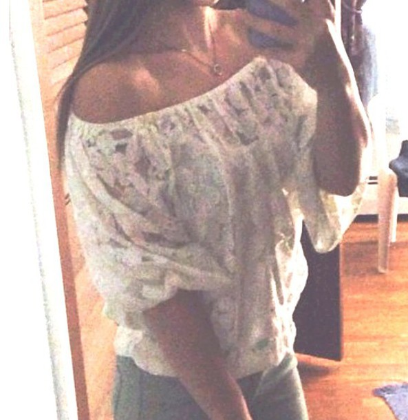 shirt white top lace top