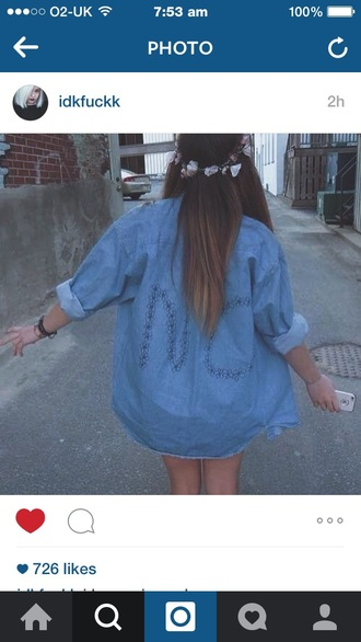 jacket denim indie hipster blue no tumblr daisy lol cool love outfits denim jacket