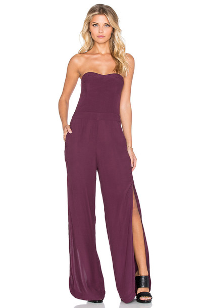 Twelfth Street By Cynthia Vincent Strapless Side Slit Jumpsuit in burgundy