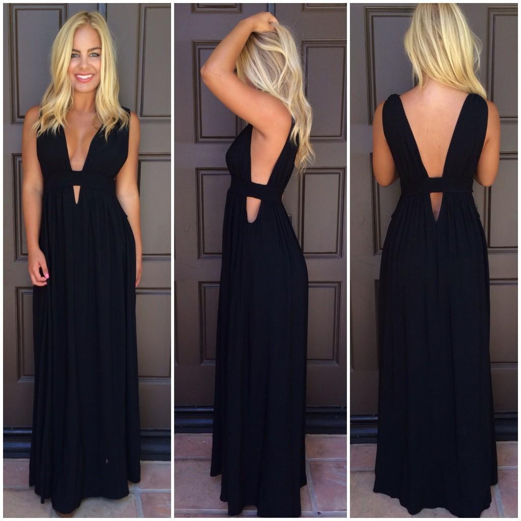 Black triple v plunge maxi dress
