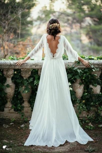 dress, white, wedding, wedding dress, boho, forest, open back, white ...