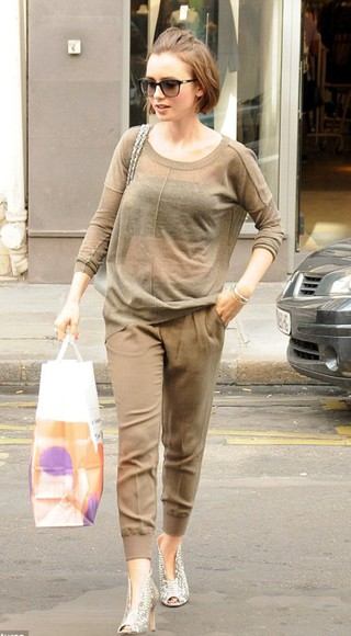 sweater pants shoes fall outfits lily collins