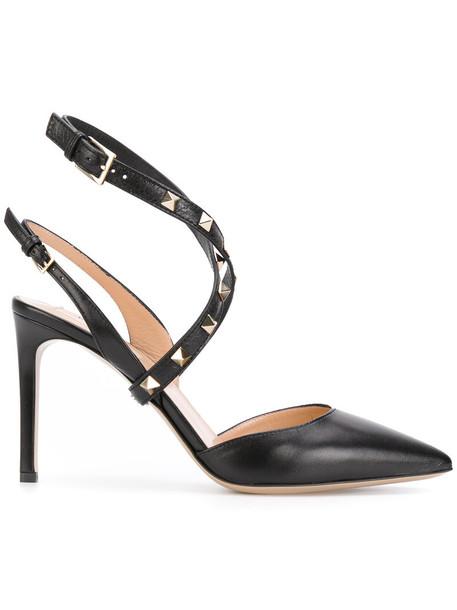 Valentino women pumps leather black shoes