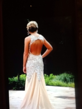 nude dress open back sparkle prom dress prom beauty hair backless dress