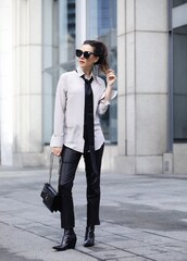inspades,blogger,dress,shirt,scarf,sunglasses,pants,bag,shoes,ysl bag,white shirt,office outfits,tie,boots