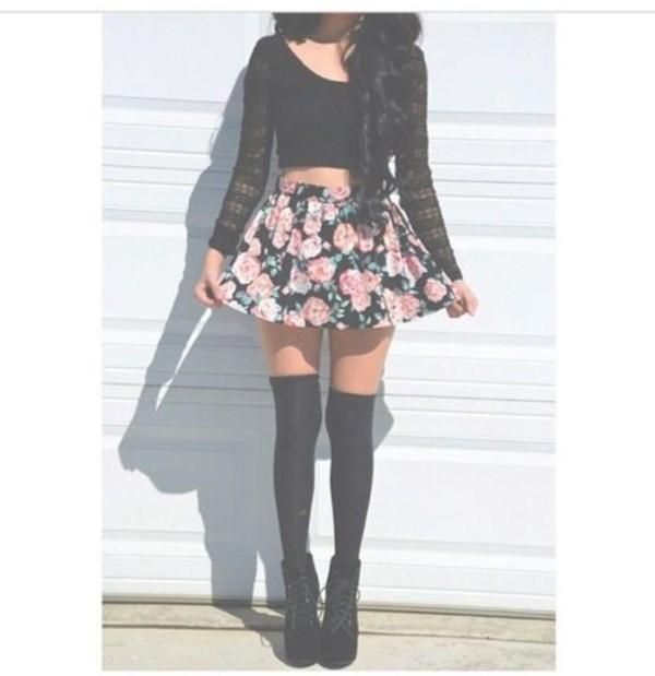 skirt flowers tights underwear shoes shirt