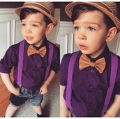 hat,brown,purple,cute,lovely,swag,style,kids fashion,toddler,fedora,bowtie,suspenders,button up,fashion,kids with swag