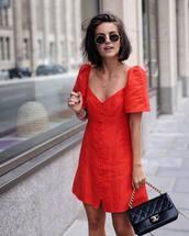 dress,red dress,mini dress,button up,bag,sunglasses,bracelets