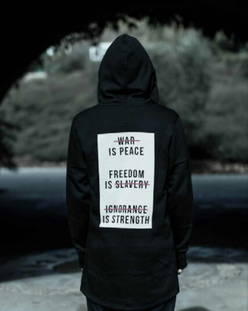 jacket hoodie quote on it black white red war is peace freedom is slavery ignorance is strength coat black hoodie quote on it sweater dope