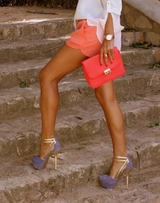 shoes high heels heels violet gold platform shoes open toes peep toe shorts bag purple shoes purple