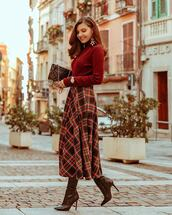 shoes,boots,high heels boots,midi skirt,plaid skirt,sweater,knitted sweater,earrings,shoulder bag