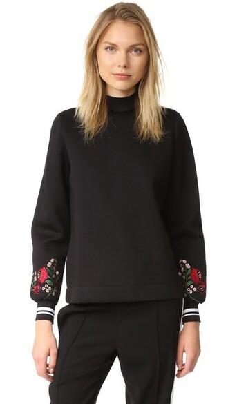 top embroidered black