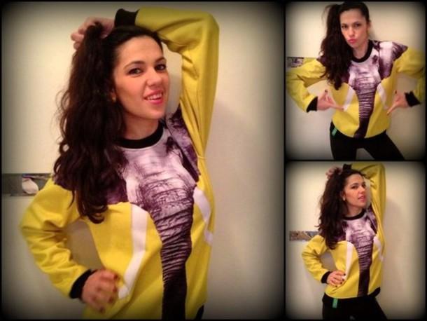 shirt yellow elephant iswag hoodie sweatshirt top
