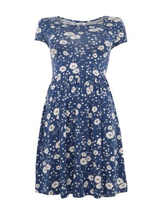 Blue and White Daisy Print Cap Sleeve Skater Dress