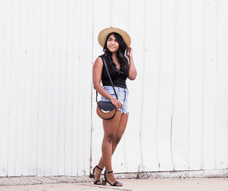 the-colorpalette blogger hat top shorts shoes bag jewels