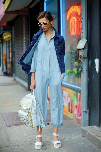 jumpsuit chambray cropped pants denim denim jacket white sandals blue jumpsuit summer outfits spring outfits white sunglasses leather backpack nastygal bag cropped jumpsuit