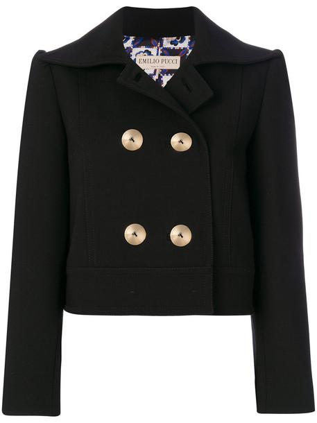 Emilio Pucci blazer cropped women black wool jacket