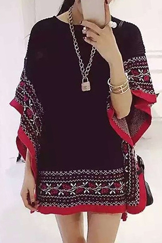 swimwear pullover sweater knitwear knitted sweater cardigan ethnic cape poncho cloak dress top vintage embroidered clothes outfit boho bohemian fall sweater autum fashion streetstyle zaful floral outerwear