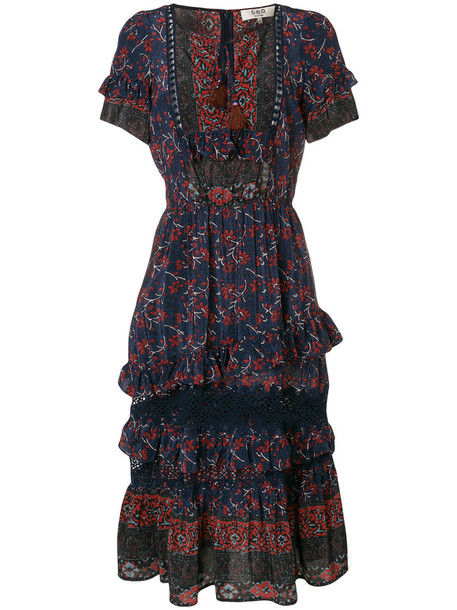 SEA dress floral dress women floral blue silk