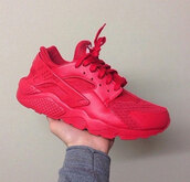 shoes,huarache,nike,all red,red october,red huaraches,sneakers,neon,style,nike sneakers,nike running shoes,nike air,red sneakers