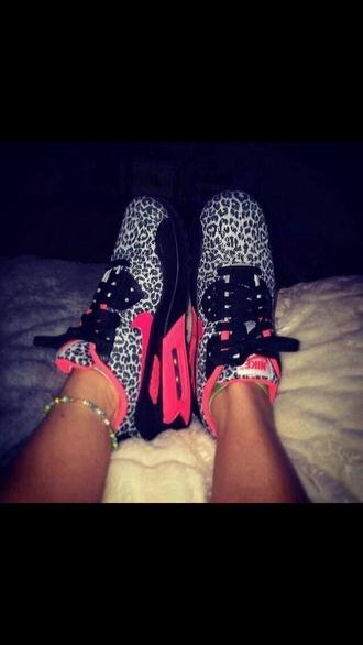 shoes nike nike air nike sneakers air max nike air max 90 leopard print neon pink black white