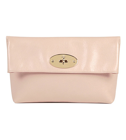 Clemmie glossy goat leather clutch